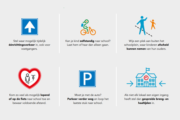 Ons advies'De nieuwe richtlijnen verkeersveilig toepassen in de schoolomgeving'.